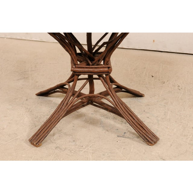 20th Century Swedish Wood Twig and Reed Oval Side Table For Sale - Image 10 of 12