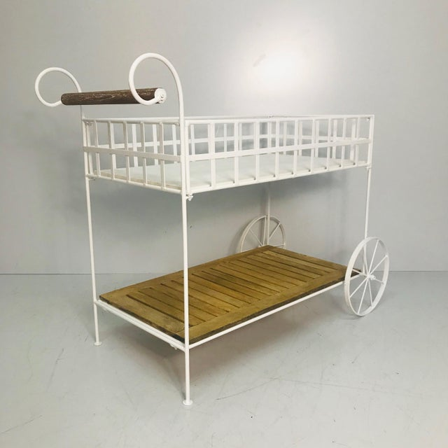 1970s Vintage White Metal With Teak & Stone Bar Cart For Sale - Image 5 of 8