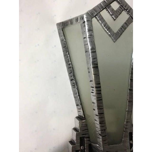 Silver Art Deco Sconces - A Pair For Sale - Image 8 of 9
