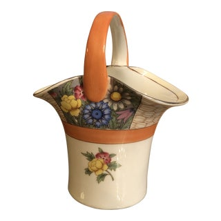 1950s Vintage Noritake Hand Painted Ceramic Basket For Sale