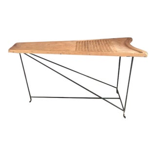 Vintage European Washboard Turned Table For Sale