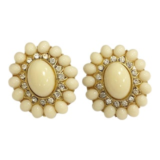 Vintage Oval Creamy White Stone Earrings With Rhinestone Accents For Sale