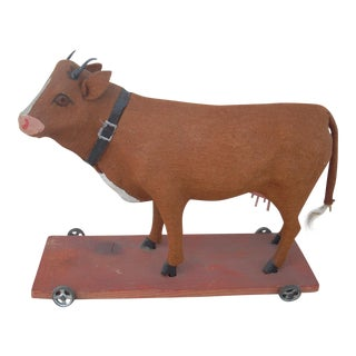 Antique Cow Pull Toy For Sale
