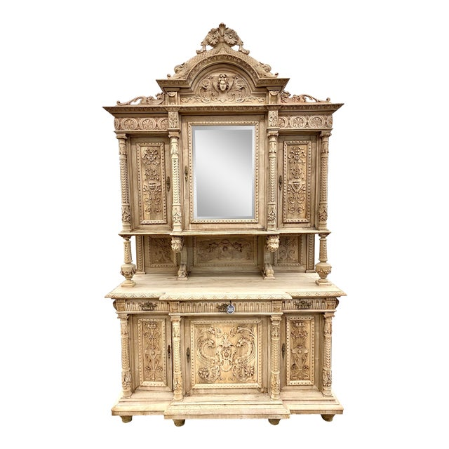 19th Century French Renaissance Bleached Walnut Cabinet For Sale
