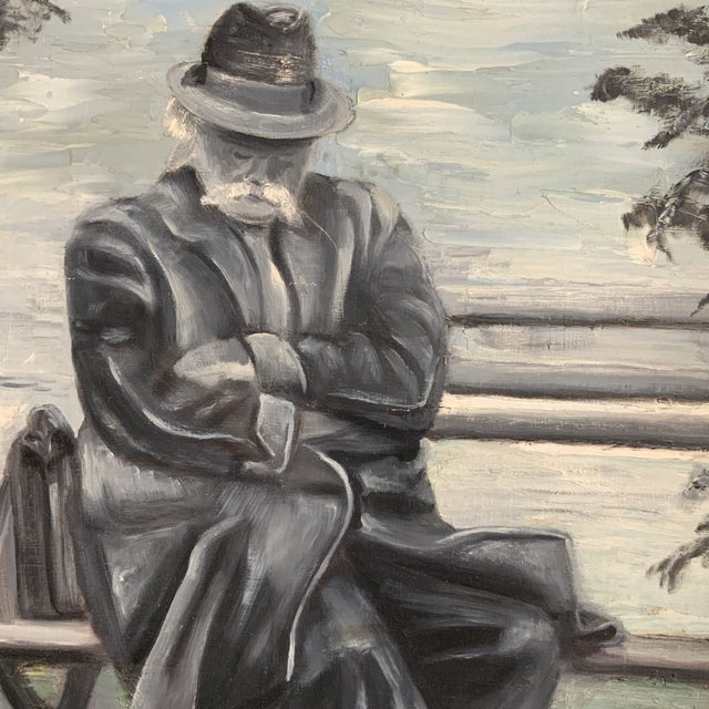 I love the sweetness of this gentleman taking a seated nap on a park bench with his briefcase next to him. Paintings that...