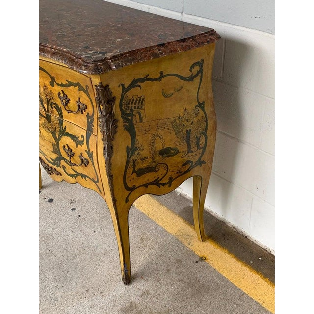 Fine Italian Piranesi Topographical Polychromed Marble Top Commode For Sale - Image 11 of 13