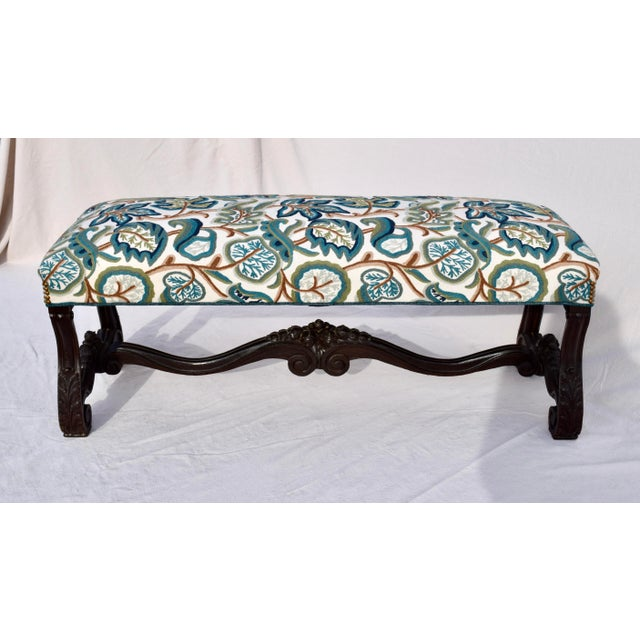 Mid 19th Century Antique American Empire Upholstered Scroll Form Bench For Sale - Image 11 of 12