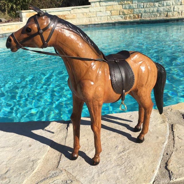 Vintage Equestrian Leather Saddled Horse - Image 4 of 10