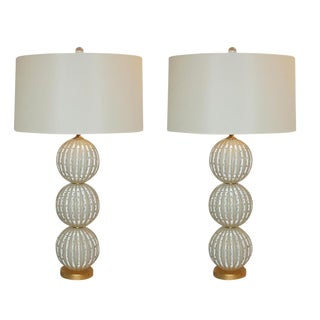 Murano Glass Stacked Ball Table Lamps White Gold Bubbles For Sale