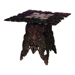 Chinese Art Nouveau Style Walnut Floral Carved Table with Shaped Square Top For Sale