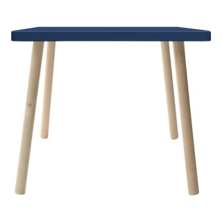 "Tippy Toe Small Square 23.5"" Kids Table in Maple With Deep Blue Finish Accent For Sale"