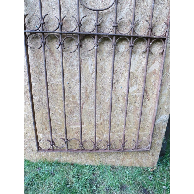 Antique Victorian Iron Gate Window Garden Fence Architectural Salvage Door For Sale - Image 4 of 11