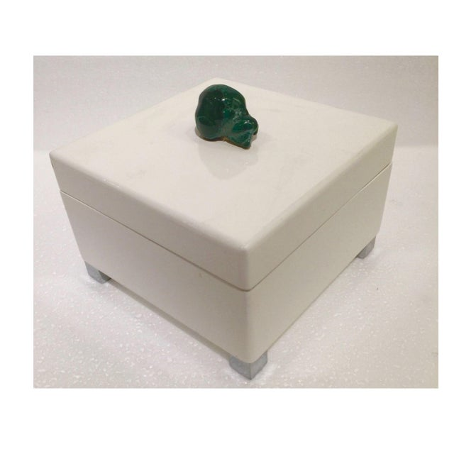 White Lacquered & Malachite Stone Box - Image 2 of 4