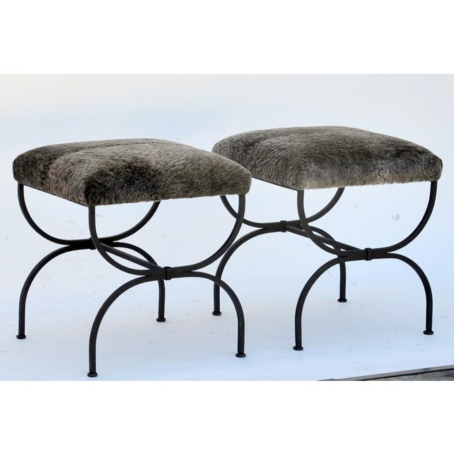 Pair of 'Strapontin' Wrought Iron and Fur Stools For Sale - Image 4 of 9
