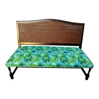 Vintage Drexel Heritage Large Double Cane Back Dark Walnut Wood W/ Palm Leaf Fabric Settee Bench For Sale
