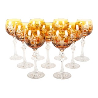 Cut Crystal Wine / Water Glasses - Set of 9