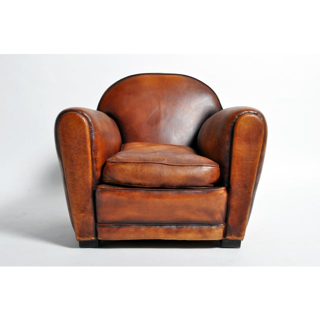 Art Deco 1960s Vintage French Brown Leather Armchairs - a Pair For Sale - Image 3 of 13