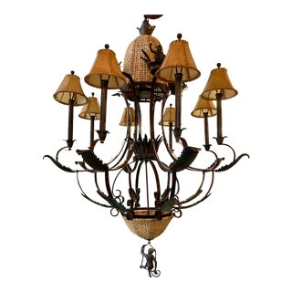 Vintage Maitland Smith Iron and Cane Monkey Chandelier For Sale