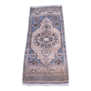 "Turkish Blue Wool Pile Small Vintage Rug - 1'6"" x 3'7"""