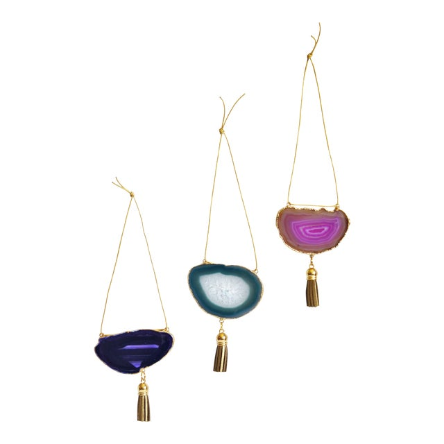 Set of 3 Gold Plated Assorted Agate Ornaments - Image 1 of 7