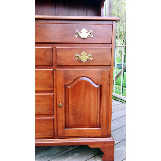 Frederick Duckloe & Bros Solid Wild Black Cherry Sideboard & China Cabinet Hutch For Sale - Image 11 of 13