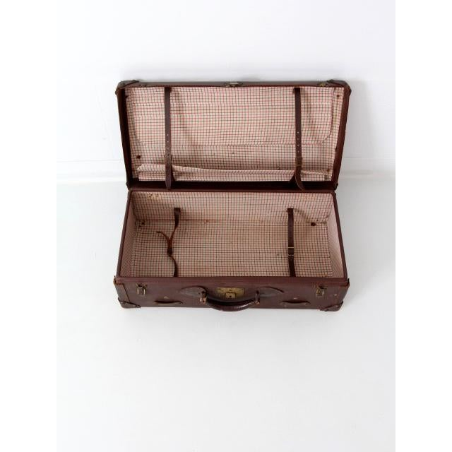 Vintage Brown Leather Suitcase For Sale - Image 4 of 8