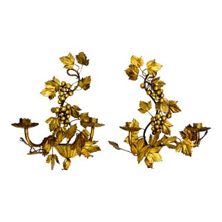 Italian Gilt Tole Leaf Wall Sconces, a Pair For Sale