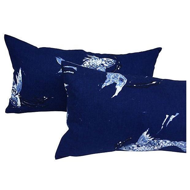 Ralph Lauren Indigo Koi Fish Pillows - A Pair - Image 2 of 7