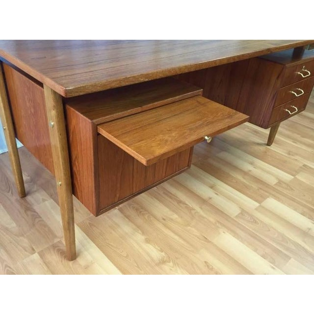 Brass Teak & Oak Floating Top Executive Desk For Sale - Image 7 of 10