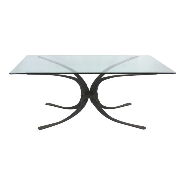 Sculptural Hand Forged Iron Dining Table Base by Stephen Bondi (1948-2004) For Sale