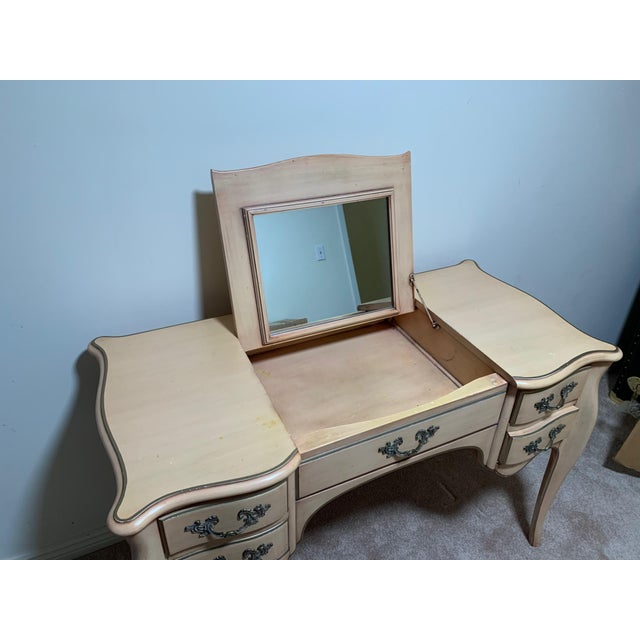 Karges vanity/dressing table with hidden mirror. Matching seat.