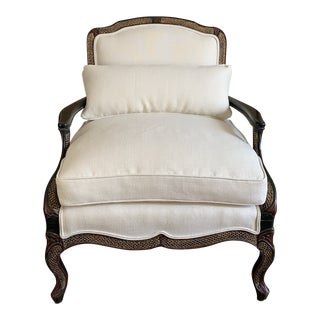 Vintage Ebony Chinoiserie Bergere Lounge Chairs- Pair For Sale