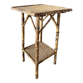 Antique English Burnt Bamboo Tall Side Table For Sale