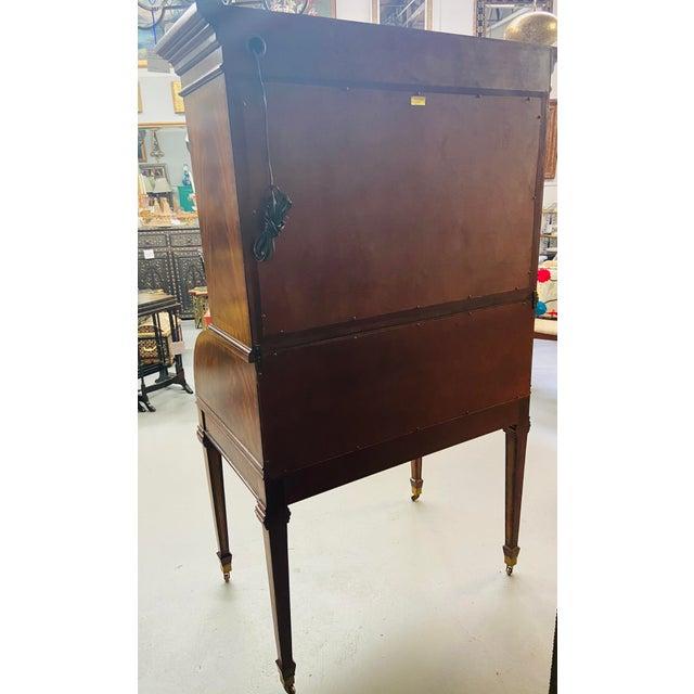 Vintage Regency Maitland Smith Flame Mahogany Burl Two Part Secretary Desk For Sale - Image 9 of 13