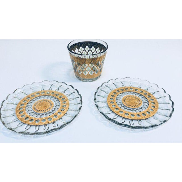 1960s Mid-Century 22-Karat Gold Leaf Plates and Ice Bucket by Culver - Set of 3 For Sale - Image 10 of 10