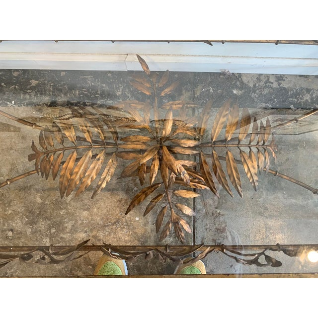 Vintage Hollywood Regency Gilded Metal Coffee Table W/Bamboo Leaf Design & Glass Top For Sale In Los Angeles - Image 6 of 7