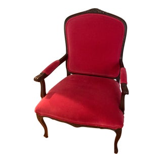 19th Century Louis XVI Red Velvet Arm Chair For Sale