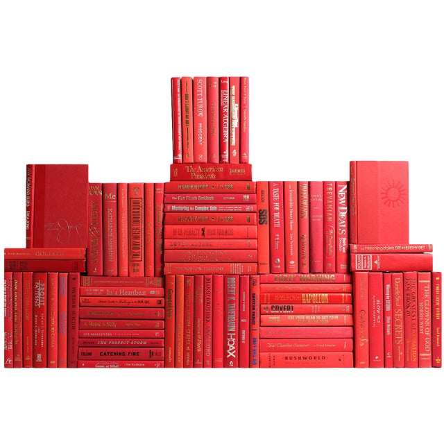 Modern Orchard Book Wall : Set of Seventy Five Decorative Books in Shades of Red For Sale
