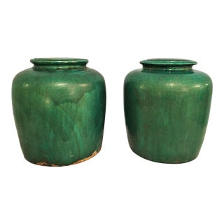 Large Chinese Green Glazed Jars - a Pair