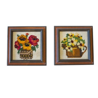 Mid-Century Framed Floral Embroidery - A Pair For Sale
