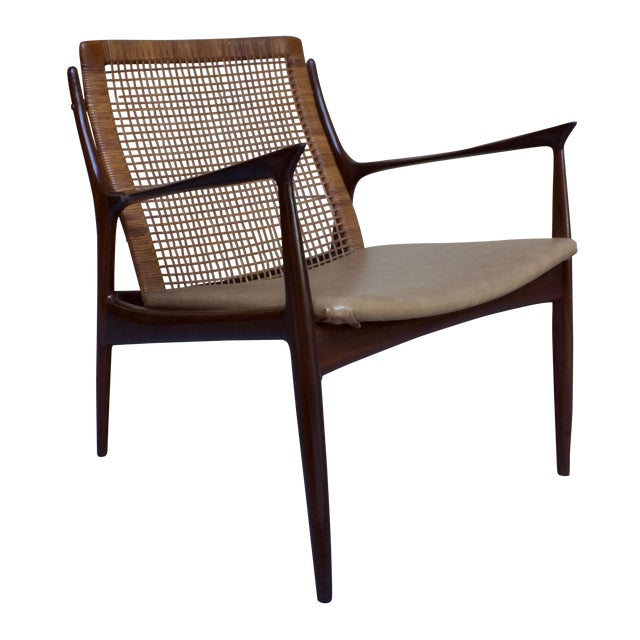 Kofod Larsen Cane Back Lounge Chair For Sale