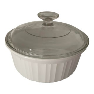 Vintage French White Corning Ware Round Casserole Bowl With Glass Lid For Sale