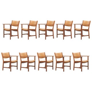 Set of Ten Ge 1960s Armchairs in Leather by Hans Wegner for by Getama, Denmark For Sale