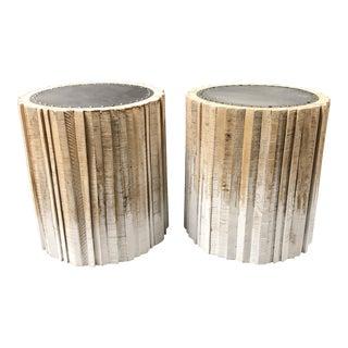Rustic Palecek Harbor Wood Table/ Stools - a Pair For Sale
