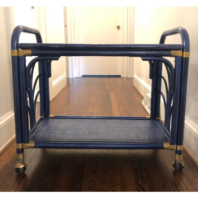 Blue 1960s Hollywood Regency Navy and Gold Rattan Bar or Tea Cart For Sale - Image 8 of 8