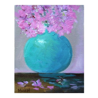 Pink Flower and Blue Vase Still Life