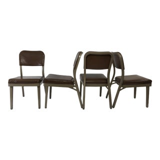 Vintage Industrial Brown Office Chairs - Set of 4 by All Steel For Sale
