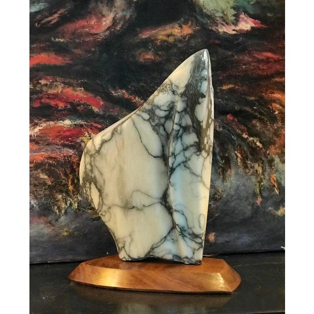 Modernist Marble Sculpture on Walnut Plinth Base For Sale - Image 12 of 12