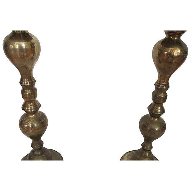 Monumental Moroccan Brass Pillar Floor Candle Holders - A Pair - Image 7 of 9