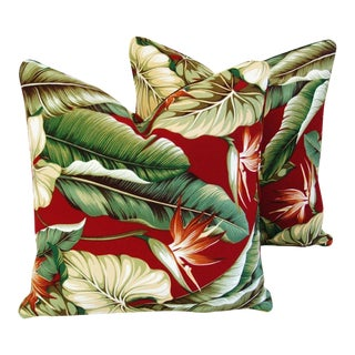 Tropical Hollywood Glam Bird of Paradise Feather/Down Pillows - A Pair For Sale